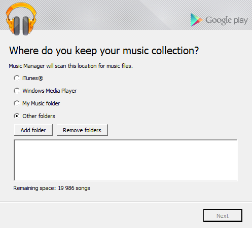 Google Play Music Folders